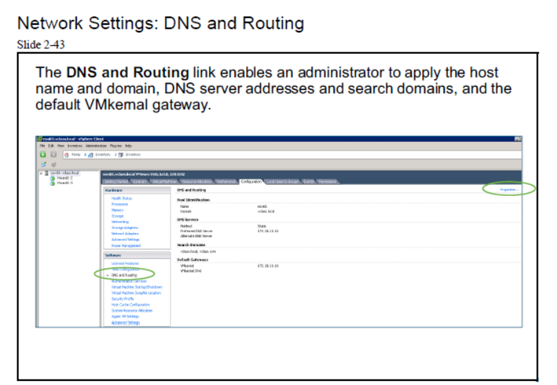 esxi host dns and routing setting