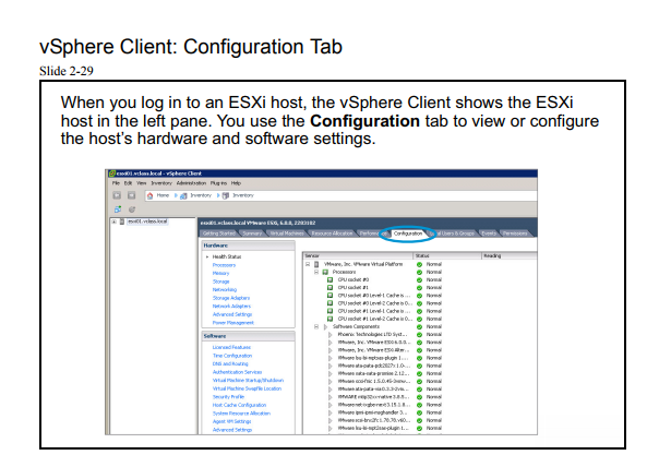 vsphere client configuration tab